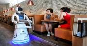 الثلاثي الآلي أيمي وآكر وجيمس روبوتات تقدم المشروبات بمطعم في هولندا